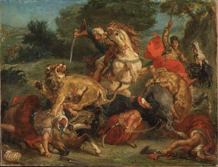 1280px-Delacroix_lion_hunt_1855