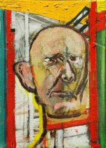 William-Utermolhen-Self-Portrait-with-Easel-1998-huile-sur-toile-35.5x25cm-400x559