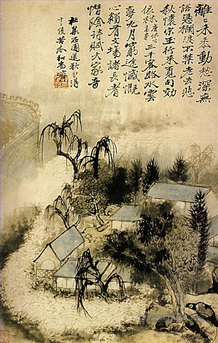 6-Shitao-hamlet-in-the-autumn-mist-1690-old-Chinese