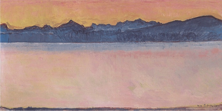 Ferdinand Hodler - Genfersee mit Mont-Blanc im Morgenrot - (MeisterDrucke-28607)
