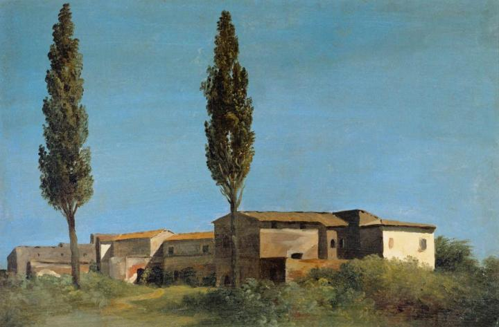 Pierre-Henri_de_Valenciennes_-_Farm-buildings_at_the_Villa_Farnese_-_the_Two_Poplar_Trees_-_WGA24229