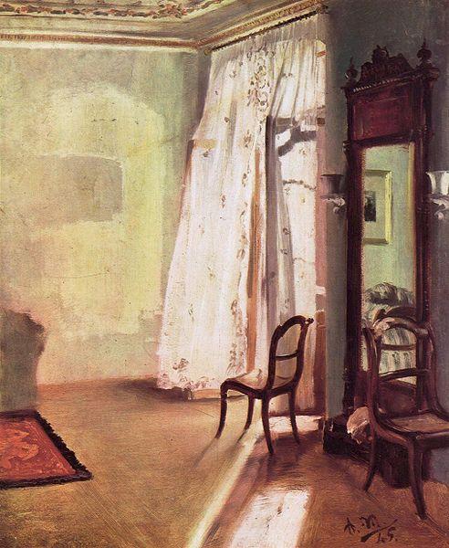 Adolph Von Menzel, la chambre au balcon, Berlin, 1845