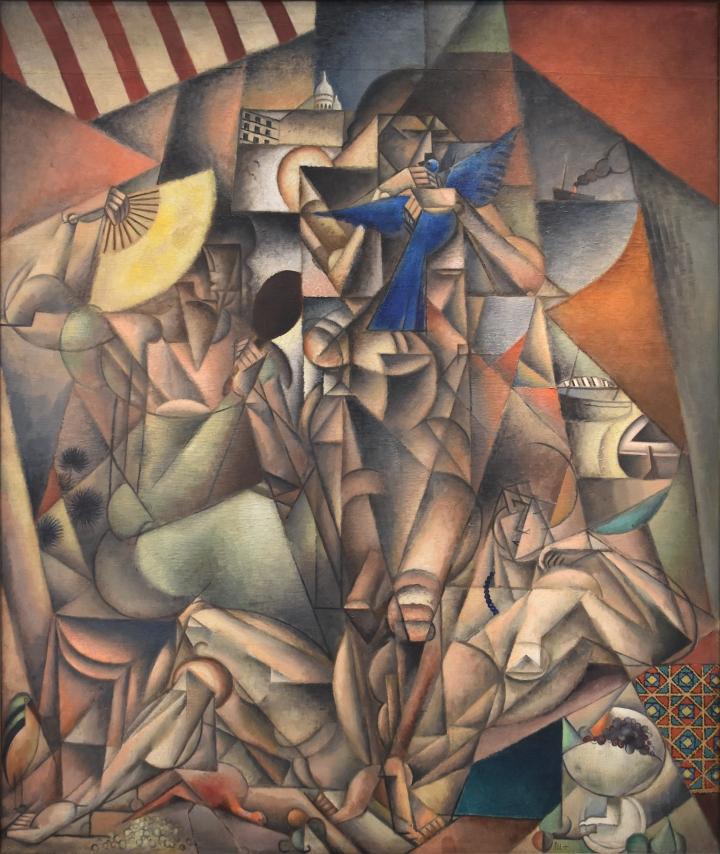 Jean_Metzinger,_1912-1913,_L'Oiseau_bleu,_(The_Blue_Bird)_oil_on_canvas,_230_x_196_cm,_Musée_d'Art_Moderne_de_la_Ville_de_Paris.