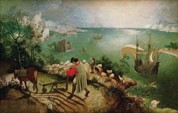 Bruegel Pieter, La chute d'Icare, Bruxelles, 1595, 1600, copie